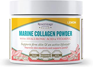 Reserveage, Marine Collagen Powder with Hyaluronic Acid and Vitamin C, Natural Dietary Supplement Support for Skin, Joints...