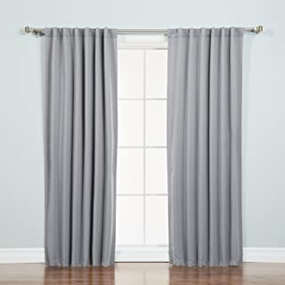 """Best Home Fashion Basic Thermal Insulated Blackout Curtains - Back Tab/ Rod Pocket - Grey - 52"""" W x 84"""" L – (Set of 2 Panels)"""