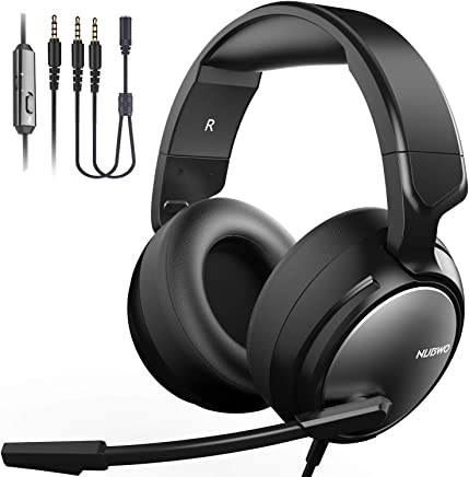 $26 » Gaming Headset for PS4, Xbox One, PC, Professional 50mm Driver, 3.5mm Surround Stereo Game Headphones with Noise Cancelling Mic & Volume Control for Nintendo Switch, Laptop iPad & Video Game