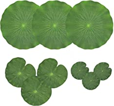 NAVADEAL Pack of 9 Artificial Floating Foam Lotus Leaves | Water Lily Pads Ornaments, Green | Perfect for Patio Koi Fish P...
