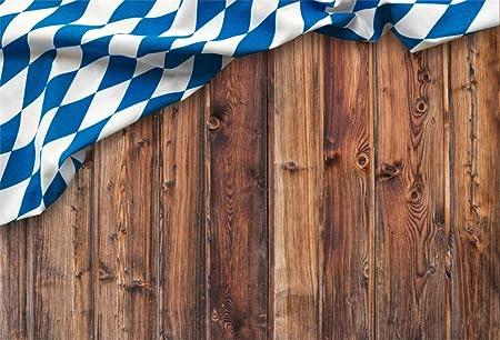 Leowefowa 5x3ft Photography Backdrop Oktoberfest Themed Bavarian/Flag/Wooden Board Brown Wooden Wall Background Octoberfest Beerfest Backdrops for Photography Portrait Photo Props Studio Backdrop