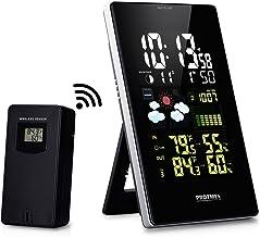 Protmex Wilreless Weather Station, EM3352C Digital Weather Forecast Station Hygrometer with Large LCD Color Display, Outdoor Sensor, Snooze Alarm, Barometer for Weather Forecast, Temperature Humidity