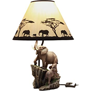 Elephants on Expedition Sculptural Table Lamp w//Decorative Shade DWK Corporation