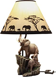 Ebros Gift African Safari Elephant Family Migration Desktop Table Lamp Statue Decor with Shade 19