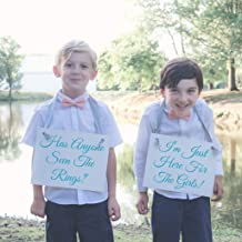 2 Ring Bearer Wedding Signs - Funny Ringbearer Wedding Ceremony Banners   Has Anyone Seen The Rings? + I'm Just Here For The Girls - Handmade in USA Caribbean Blue Script & Gray Ribbon on White Paper