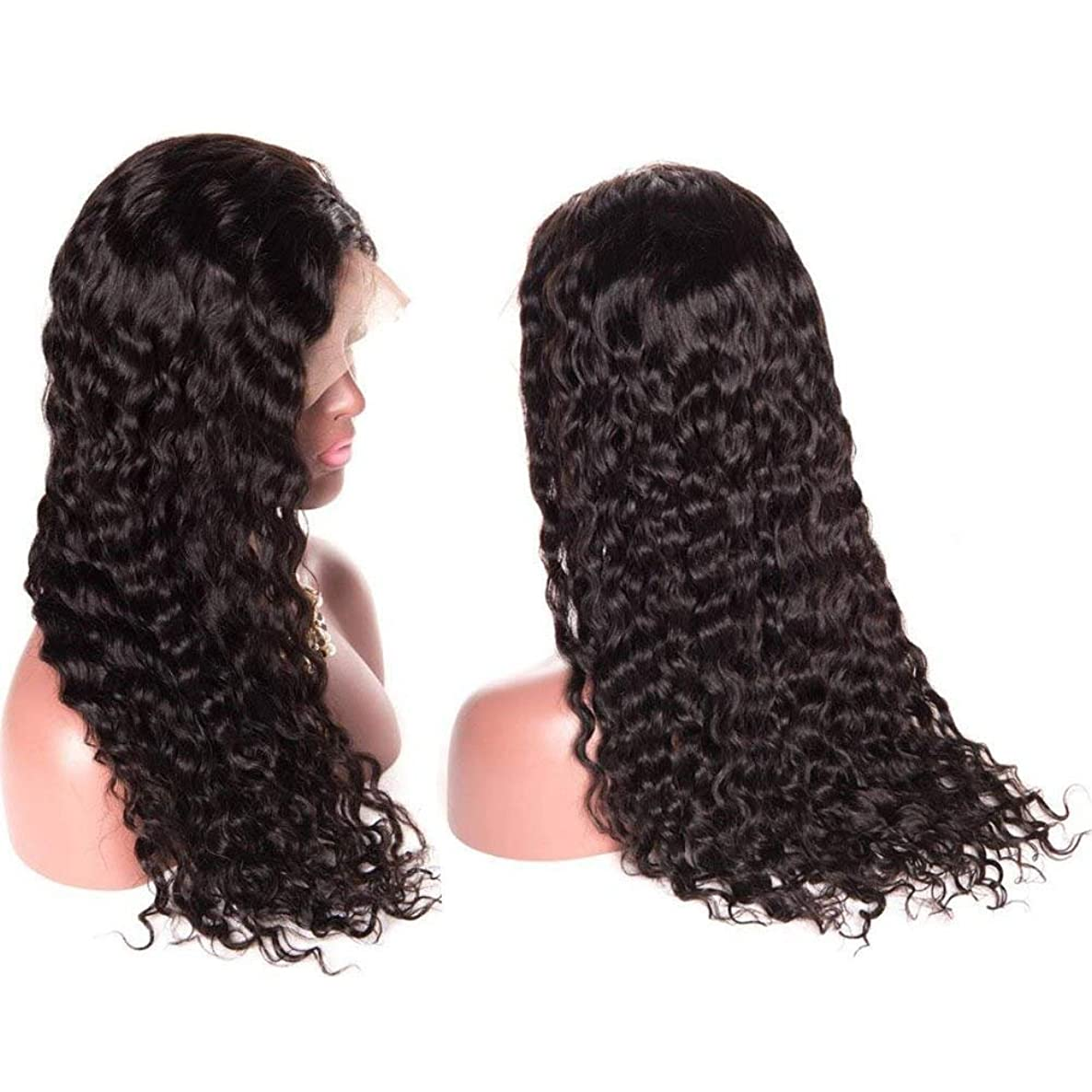 Brazilian Water Wave Lace Front Wigs 18 inch for Black Women 130% Density 100% Unprocessed Virgin Human Hair Wig Natural with Baby Hair