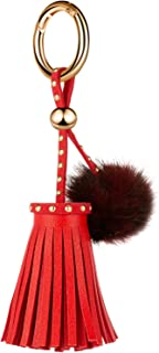 JOUDOO Leather Tassels Keychain with Mink Fur Ball and Rivet Keyring for Bags Purse Keys GJ019
