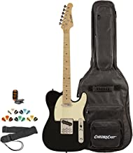 Sawtooth ST-ET-BKW-KIT-2 Electric Guitar, Black with Aged White Pickguard