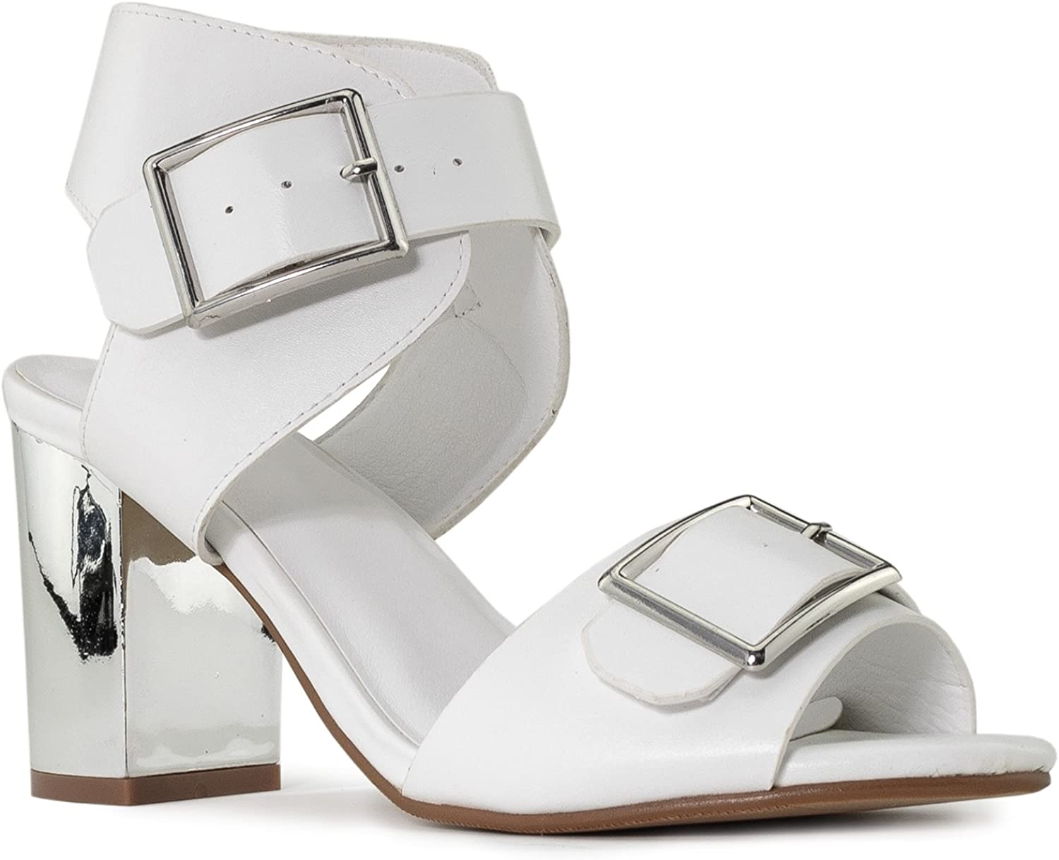 RF ROOM OF FASHION Women's Double Strap Mirror Chunky Heel Dress Sandals
