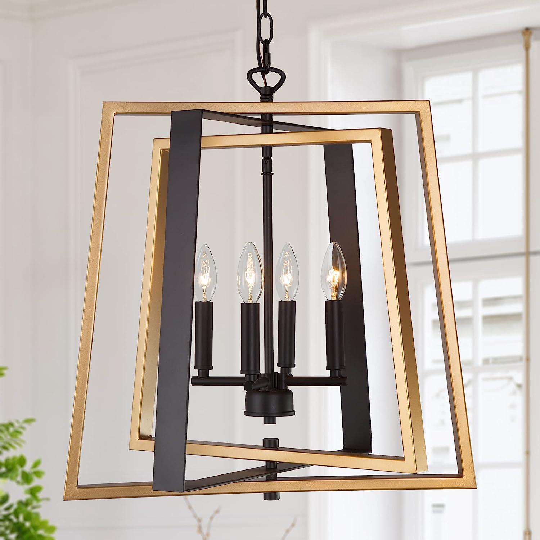 "LNC Modern Farmhouse Chandelier 20""W Gold and Black Pendant Our shop most popular Quality inspection Lig"
