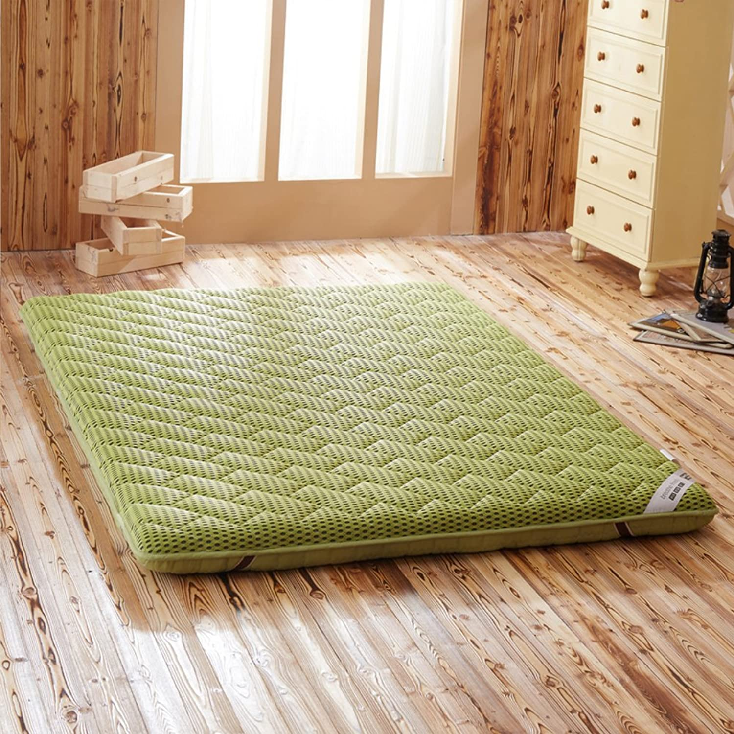 Breathable Mattress Pads,Polyester Mattress-Toppers,4 d Thicken Four Seasons Solid color Foldable Non-Slip Predect Spine Tatami Mattress-Green 100x200cm(39x79inch)