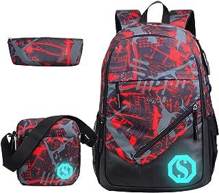 Boy Girl Unisex 20L Fashion School Bag Backpack Bookbag with Florescent Mark 3 Sets/2 Sets (20L, Color G 3Sets)