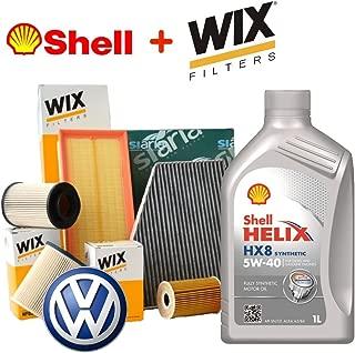 SMC - Kit de mantenimiento, con aceite de motor Shell Helix HX85W40de 5 L + 3filtros Wix + habitáculo Siaria (WL7296, WF8269, WF8379, WA6702, V3613)