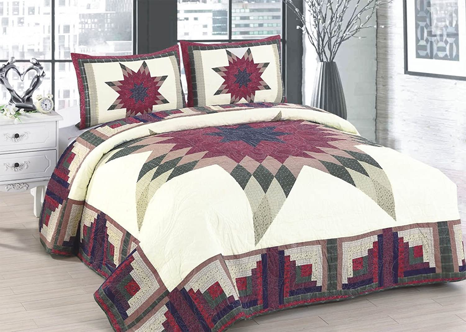 American Hometex Q16905-Q Cabin Star Quilt Set, Queen