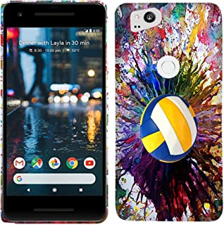 Google Pixel 2 Case - Vintage Color Volleyball Hard Plastic Back Cover. Slim Profile Cute Printed Designer Snap on Case by Glisten