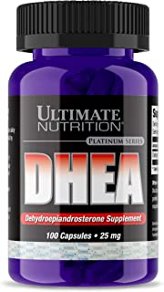 Ultimate Nutrition Pure 25mg DHEA Supplement - Max Strenth Testosterone, Libido and Metabolism Booster - Balance Hormones and Supports Lean Muscle Growth, 100 Capsules