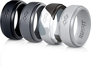 خاتم زفاف من السيليكون للرجال من رين فيت عبوة بها 1/ 3/ 4/ 7 خواتم. تصميم آمن وناعم للرجال من السيليكون. المقاسات 7-14