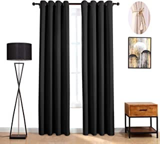 LOFT store Black Blackout Curtains, Darkening Thermal Insulated Curtains and Drapes Solid Grommets Window Blinds and Shades Window Treatments for Bedroom Living Room Kitchen (Black,2 Panels,52Wx84L)
