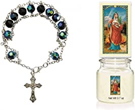 Gifts by Lulee, LLC Silver Base Wire Weaved Rosary Bracelet with Crystal Faceted Beads Blessed Laminated Card and a Scented Candle with Image 3 Devotions to Choose from