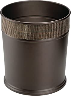 mDesign Decorative Round Small Trash Can Wastebasket Garbage Container Bin for Bathrooms Powder Rooms Kitchens Home Office...