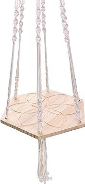 Luxbon Suspension Plante Macramé Porte Suspendre - Hexagonale Planche de Bois Corde de Coton - pour Intérieur Extérieur Home