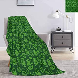 Luoiaax Irish Bedding Fleece Blanket Queen Size Kiss Me Im Irish Humorous Phrase with Ale Shamrocks Hats Traditional Symbols Soft Throw Blankets for Adults W54 x L72 Inch Green Lime Green