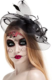 Halloween Black Costume Feather Net and Veil Fascinator Hair Clip Hat Hair Accessories Clip for Festival Party
