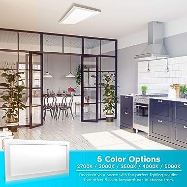 Luxrite 1x2 FT LED Panel Lights, 22W Ultra Thin Ceiling Light Fixture, 5 Color Selectable 2700K   3000K   3500K   4000K   500