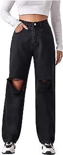 SheIn Women's Ripped Boyfriends Jeans High Waist Distressed Denim Long Pants with Pockets