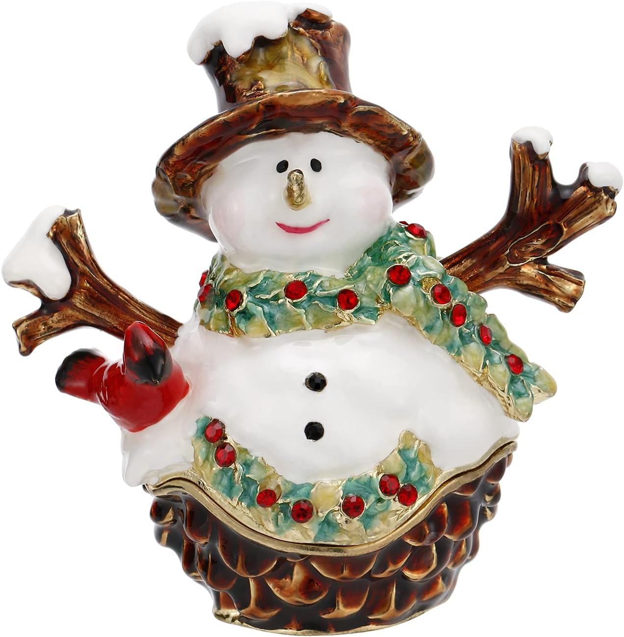 Hand Painted Enamel Christmas Snowman Trinket Box, Hinged Jewelry Organizer Ring Earrings Storage, Unique Home Decor Figurine Keepsake Collectible, Personalized Elegant Handmade Ornament (Snowman)