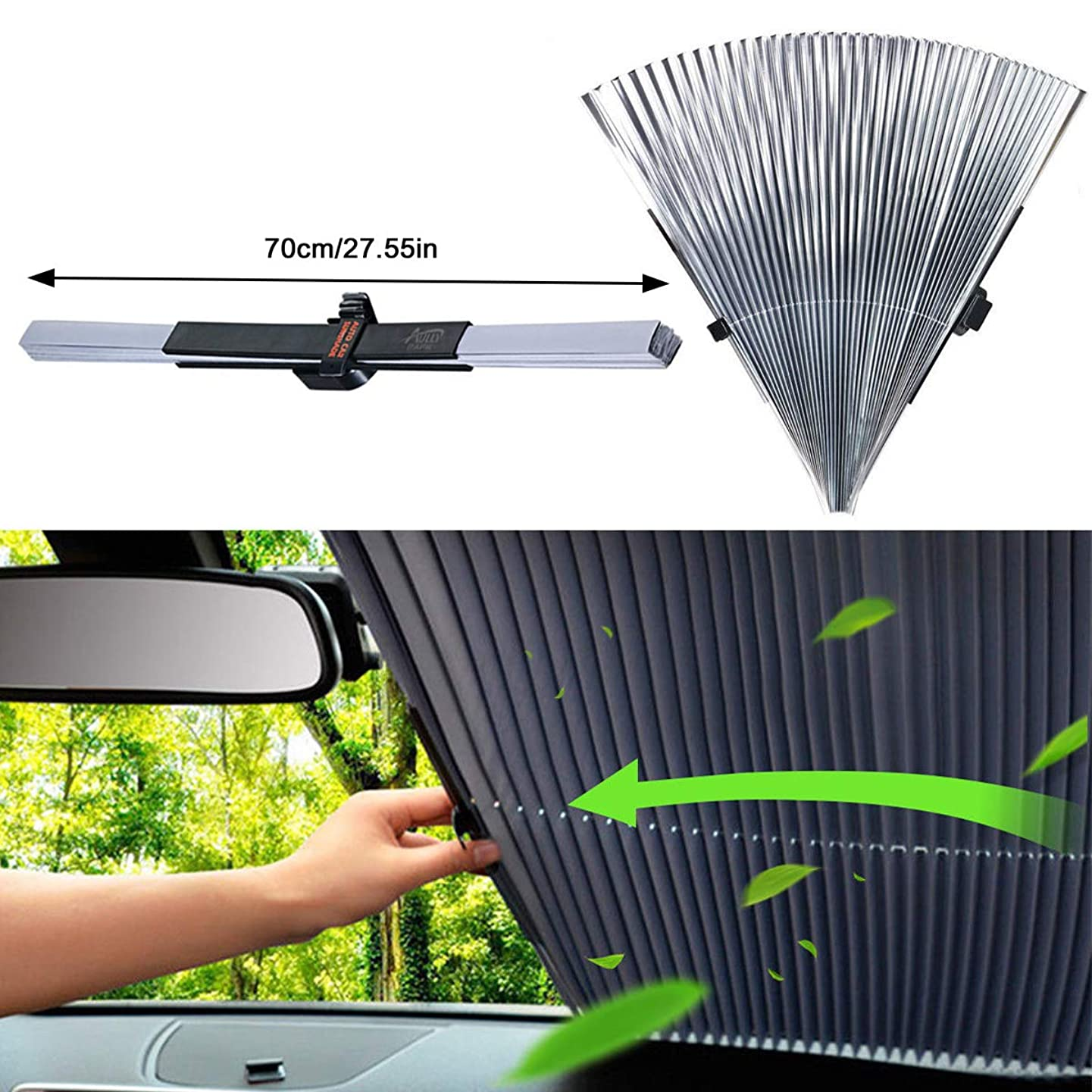 AUTOPDR Universal Car Retractable Windshield Sun Shade Auto Sun Shade Cover for Most car Trucks SUV UV Protection Front Windows q393212779960659