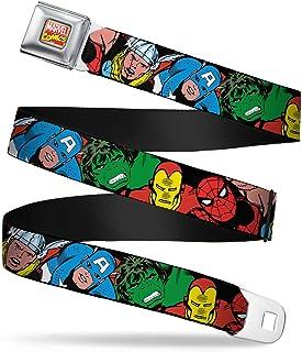 Buckle-Down Seatbelt Belt - 5-Marvel Characters Black