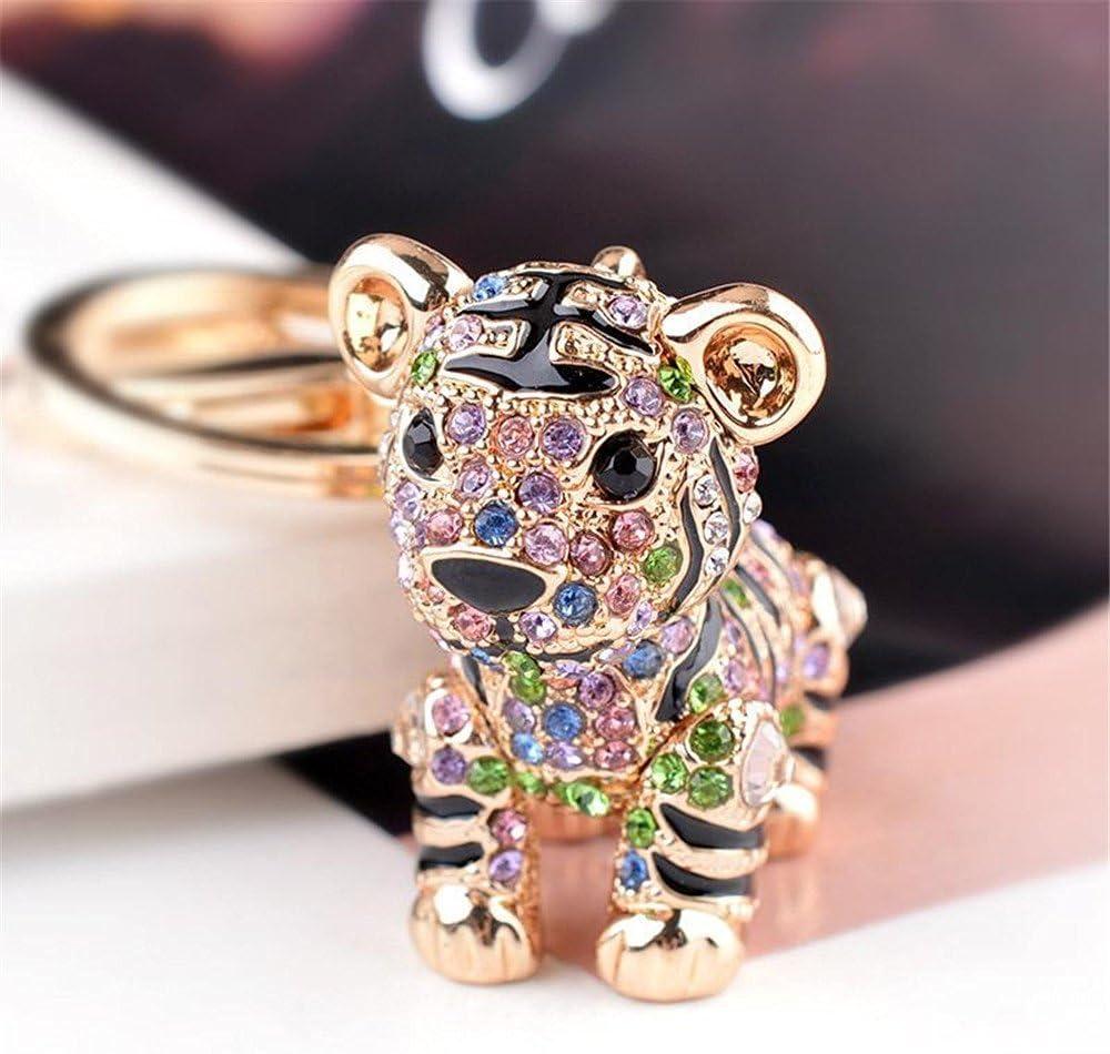 blanco para bolsos de metal con cristales brillantes llavero Llavero con dise/ño de tigre Diamante de imitaci/ón Metal