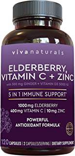 Elderberry, Vitamin C, Zinc, Vitamin D 5000 IU & Ginger Immune Support Supplement, 2 Month Supply (120 Capsules) - 5 in 1 ...