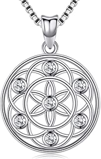 Seed of Life Pendant Necklace for Women Girls Wife Mom,925 Sterling Silver Flower of Life Mandala 18 mm Round Circle Charm Necklace Jewelry Gift with Fine Jewelry Gift Box, 18 inches