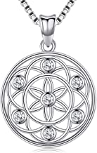 Friggem Seed of Life Pendant Necklace for Women Girls Wife Mom,925 Sterling Silver Flower of Life Mandala 18 mm Round Circle Charm Necklace Jewelry Gift with Fine Jewelry Gift Box, 18 inches