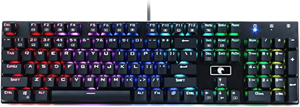 Z-88 RGB Mechanical Gaming Keyboard, Red Switch - Linear, Programmable RGB Backlit, Water Resistant, 104 Keys Anti-Ghosting for Mac PC, Black
