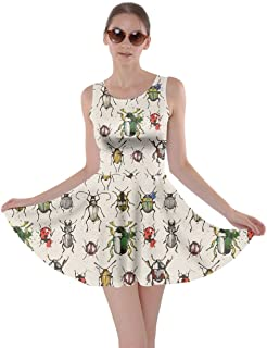 3c1280d899 CowCow Womens Watercolor Beetles Insect Bee Butterfly Butterflies Bugs  Dragonfly Skater Dress