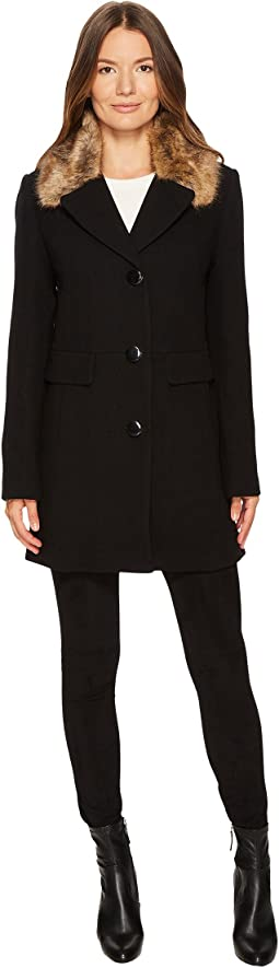 Kate Spade New York - Wool Twill Faux Mink Collar Peacoat