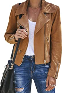 ROSKIKI Women's Faux Leather Moto Biker Short Coat Jacket