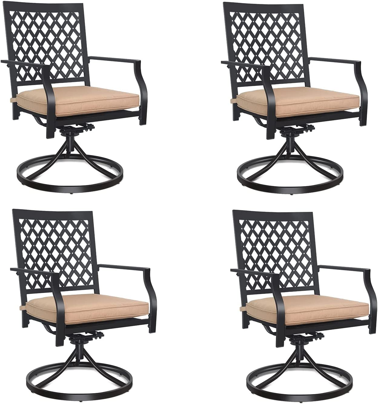 Swivel Patio Chairs Free shipping anywhere in the nation 4 Pcs MEOOEM Max 81% OFF Metal Ch Dining Outdoor Rocker