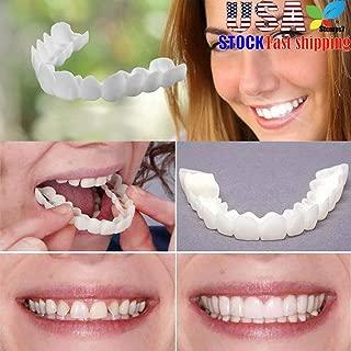 Veneers Snap in Teeth, STCORPS7 Braces Veneers Dentures Fake Teeth Smile Serrated Denture Teeth Top and Bottom Comfort Fit Flex Teeth Socket to Make White Tooth Beautiful Neat (2pcs.)