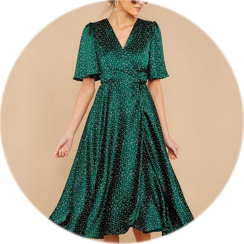 colorfulspace Bohemian Long Dress Women dot Printing Shirt Sleeve VNeck Vestidos Female Casual Women Dress No Lining
