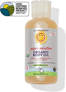 California Baby Super Sensitive Massage Oil | 100% Plant Based (excludes water) | Cold Pressed Vegan Oils for Arms, Legs, Back, and Body, Gentle on Sensitive Skin | Baby or Adult Use | (4.5 ounces)