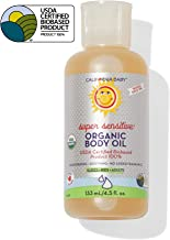 product image for California Baby Super Sensitive Certified Organic Body Oil (4.5oz) This unscented massage oil is safe for even the most sensitive skin! Made with organic, non-GMO, cold pressed oils that will leave your skin feeling satiny soft and non-greasy.