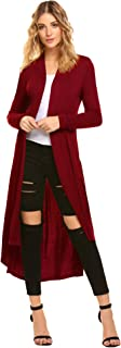 Women's Long Open Front Drape Lightweight Maix Long Sleeve Cardigan Sweater (US M(8-10, Red)