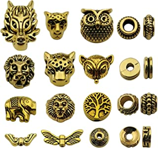 Youdiyla 64pcs Space Beads Charms Collection, Antique Gold Tone, Mix Gold European Spacer Loose Hole Metal Beads Craft Supplies Findings for Necklace and Bracelet Jewelry Making (HM247)