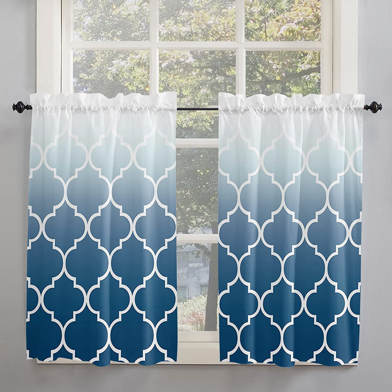 Blue Moroccan Geometric Ombre Kitchen Indefinitely Curtains All items in the store fo Inch Length 54