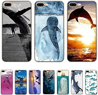 WAAH Cell Mobile Phone Case for iPhone 11 Pro XR X XS Max iPhone 7 8 6 6s Plus 5 5S SE Cover Whale Sharks Shell (Color : H...