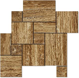 Noce Vein-Cut Travertine Opus Pattern Mosaic Tile, Brushed & Unfilled (LOT of 5 SHEETS)